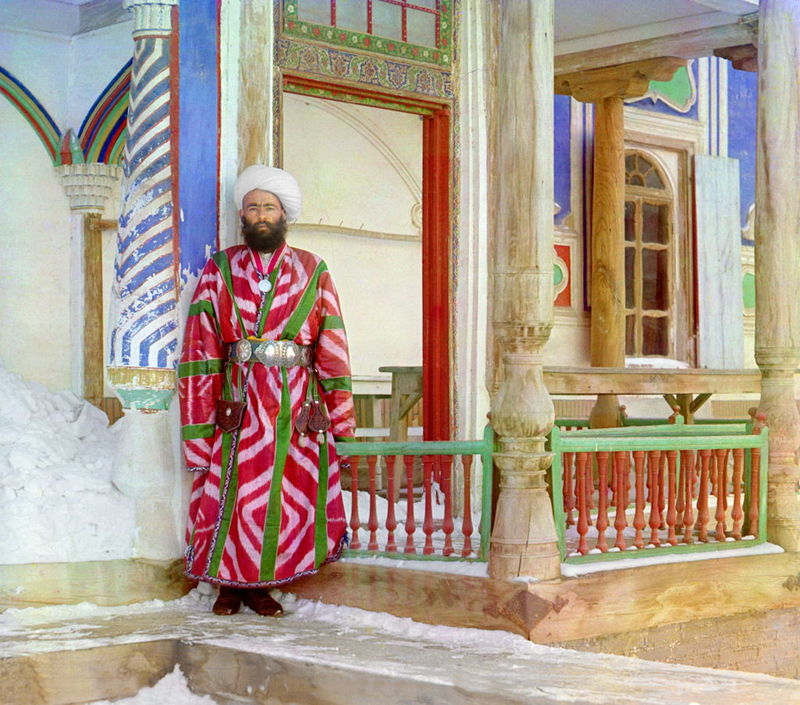 Prokudin-Gorskii, Sergei Mikhailovich. Bukhara Bureaucrat, 1906-1911. 1 negative (3 frames) : glass, b&w, three-color separation. Library of Congress, Prokudin-Gorskii Collection.