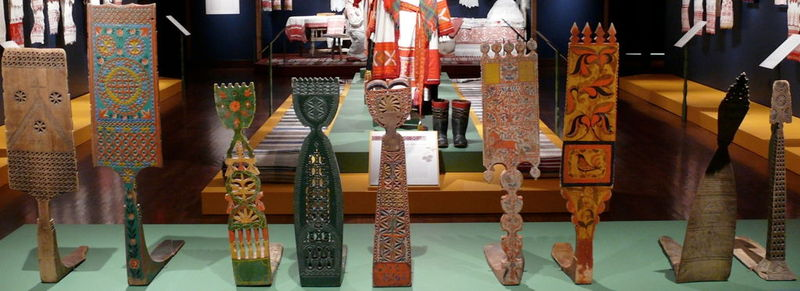 Display of Prialki, late 19th-early 20th century. Russia. Private Collection of Susan Johnson. Wood.