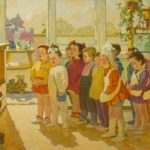 Mikhail Samkov. Children Singing, 1971-72 Oil on canvas  The Raymond and Susan Johnson Collection of Russian Art