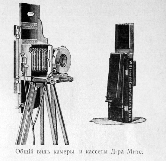 Camera and Cassette, Adolf Miethe ca. 1906, December 1906. Fotograf-Liubitel 17, no. 12: 5
